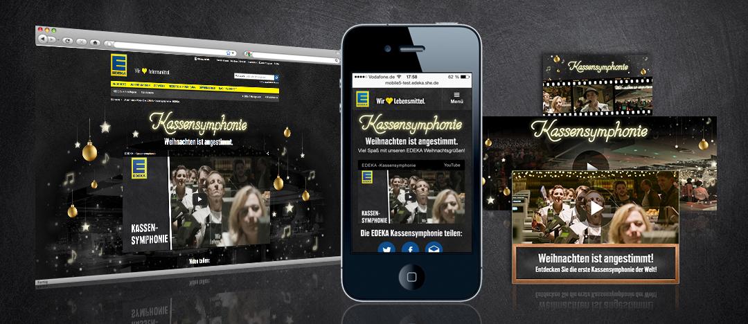 Exemplarische Darstellung der Umsetzung eines EDEKA Webspecials auf Desktops und Mobile-Display sowie Banner und Teaser für die Verlinkung auf der Website