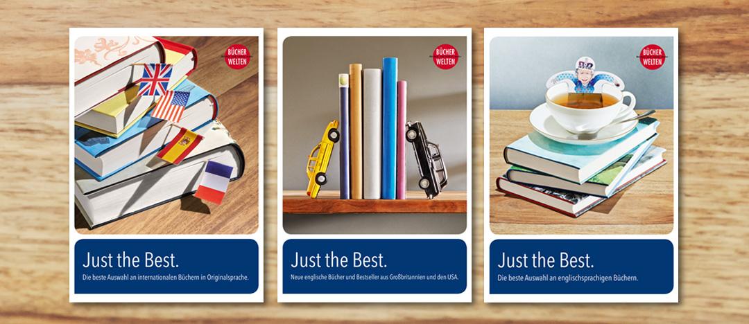 Plakatgestaltung Just the Best von Libri für die Bekanntmachung der neuen englischsprachigen Buchtitel am Point of Sale