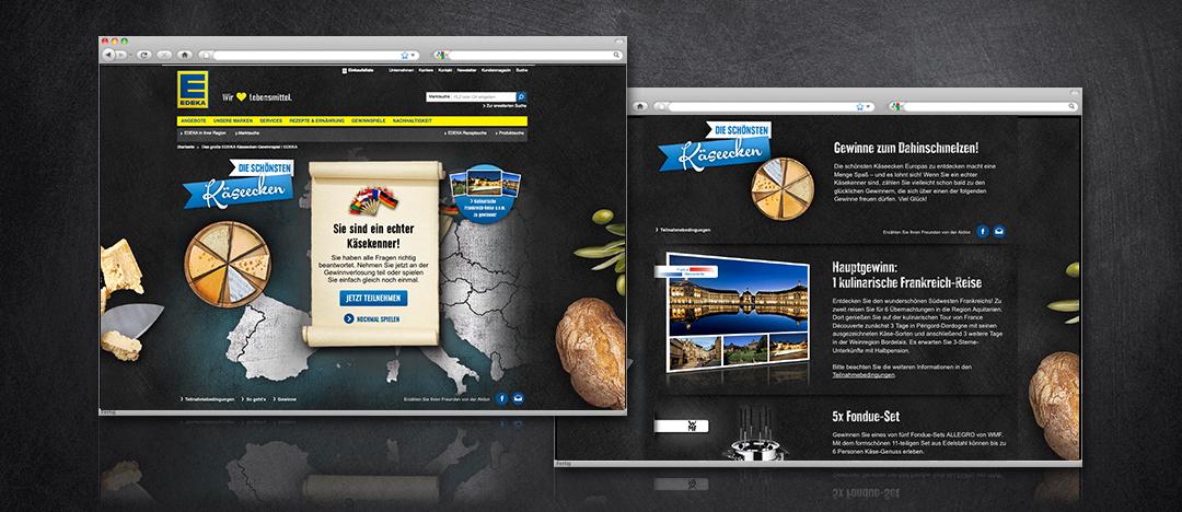Das Gewinnspiel vom EDEKA Webspecial Die schönsten Käseecken mit Darstellung der Detailseite zu den verschiedenen Gewinnen der Verlosung