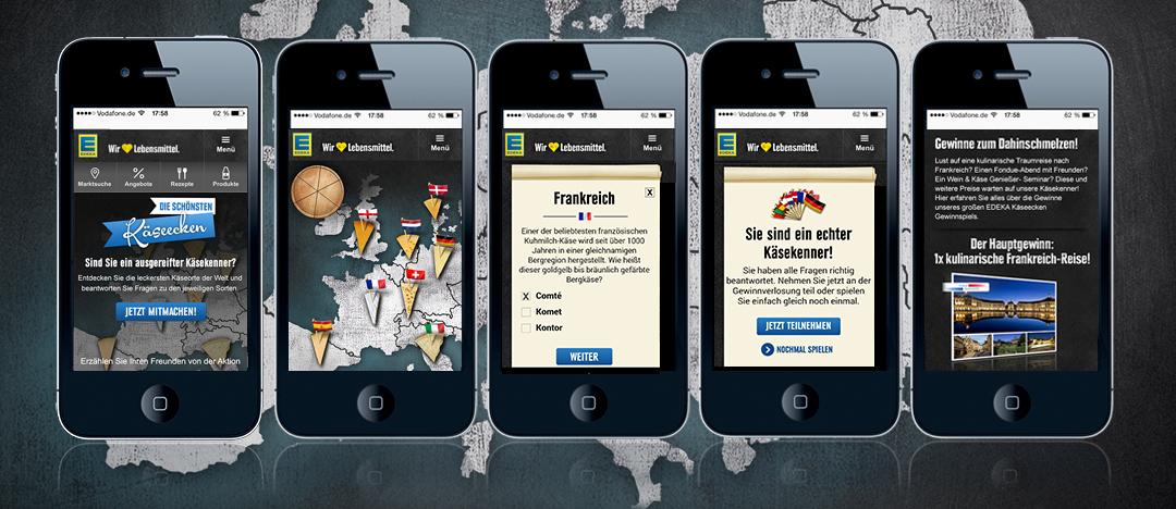 Die interaktive Spielfläche von EDEKA Die schönsten Käseecken mit verschiedenen Käsesorten zum Aufrufen der Gewinnspielfragen zu den verschiedenen Ländern
