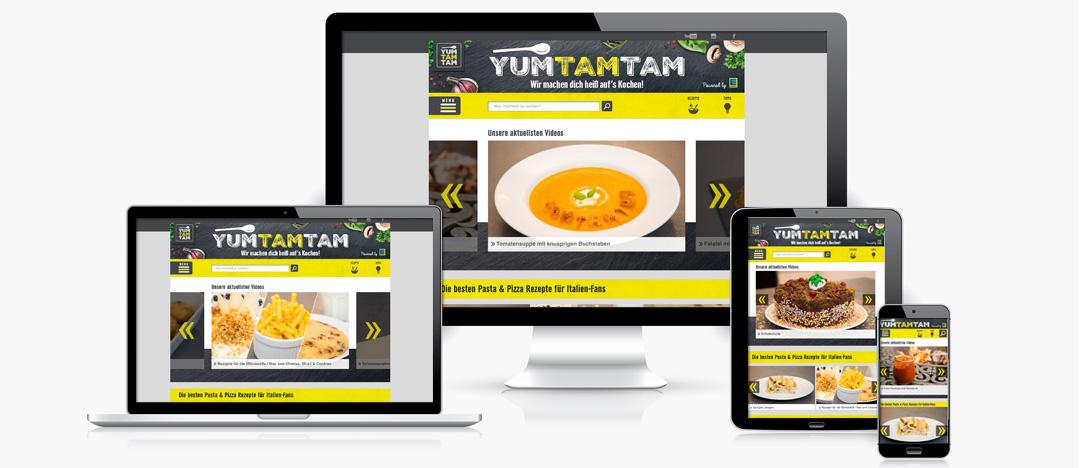 Die EDEKA yumtamtam Website auf Desktop, Laptop, Tablet und Smartphone