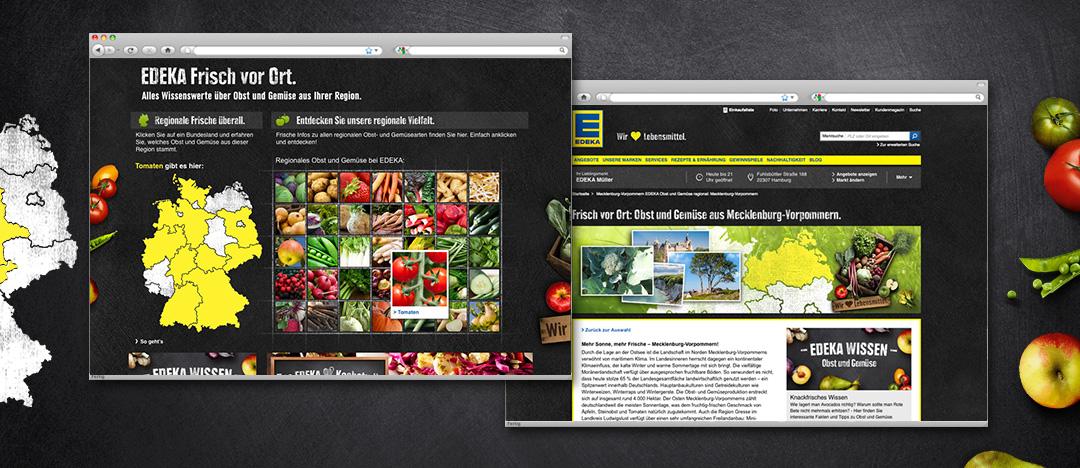 """Detailseiten mit Auswahl-Funktion der regionalen Obst- und Gemüsearten und informativer Text zum EDEKA Webspecial """"Frisch vor Ort"""""""