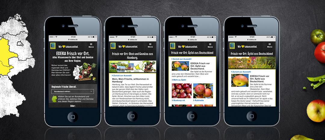 """Beispielhafte Darstellung des responsiven Webspecials """"EDEKA Frisch vor Ort"""" auf Smartphone-Displays."""
