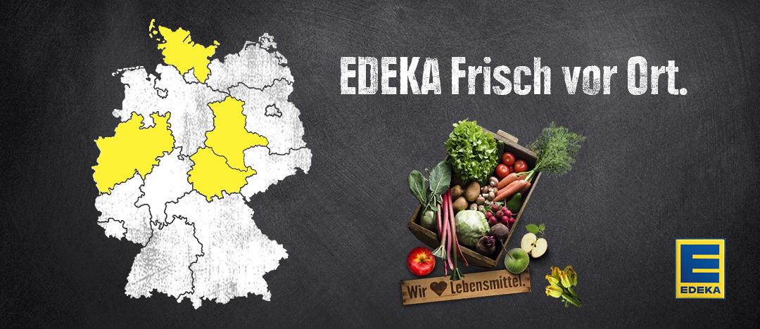 """Key-Visual """"EDEKA Frisch vor Ort"""", EDEKA-Logo, Gemüsekiste und Deutschlandkarte – die Gestaltungselemente des EDEKA Webspecials"""