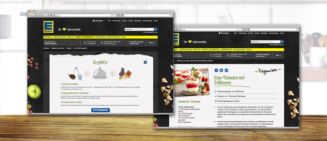 Erklärung des Online-Tools EDEKA Veganizer und Rezept-Detailseite einer veganen Alternative zu einem klassischen Gericht